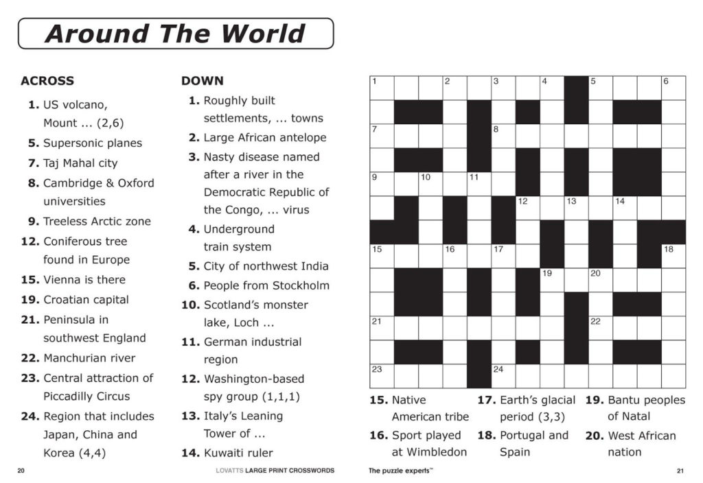 15 X 15 Printable Crosswords Printable Crossword Puzzles