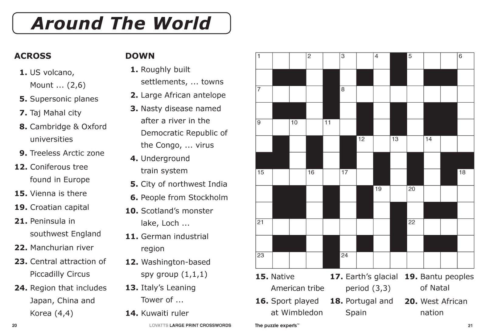 Easy Printable Crossword Puzzles 15x15