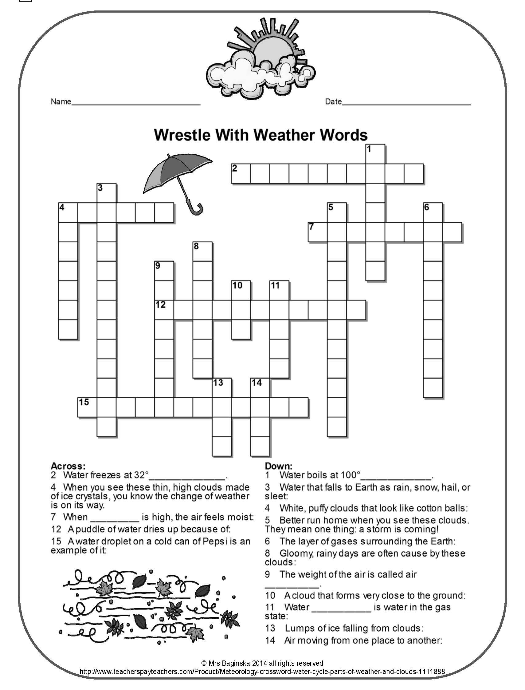 Printable Crossword Puzzles 4th Grade