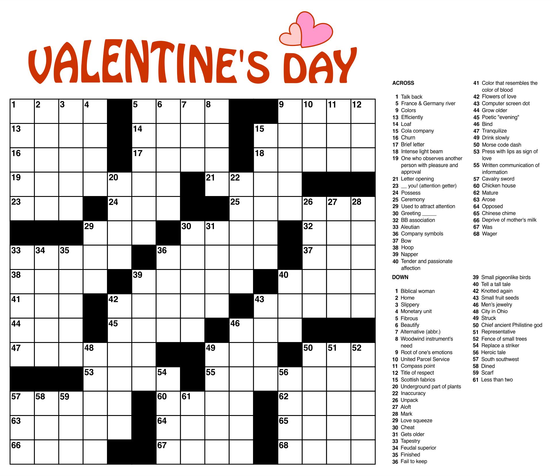 Printable Crossword Large