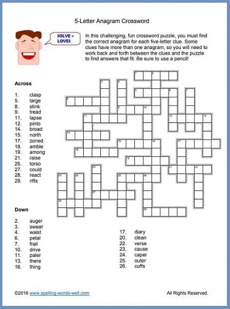 Printable Anagram Crossword Puzzles