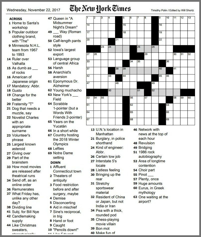 New York Times Crossword Printable Free 2018