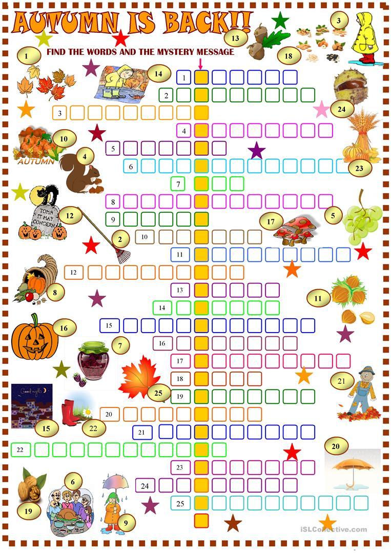 Free Fall Crosswords Printable