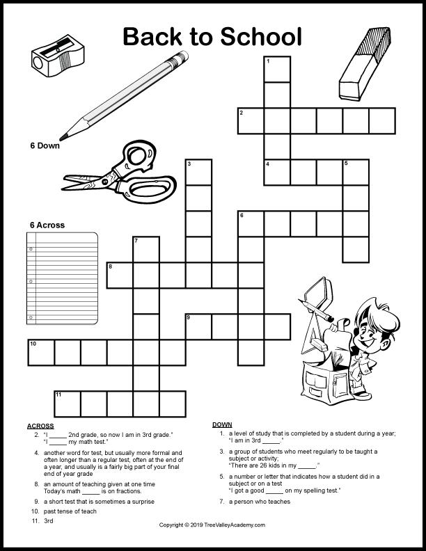 Free Back To School Crossword Puzzle Printable