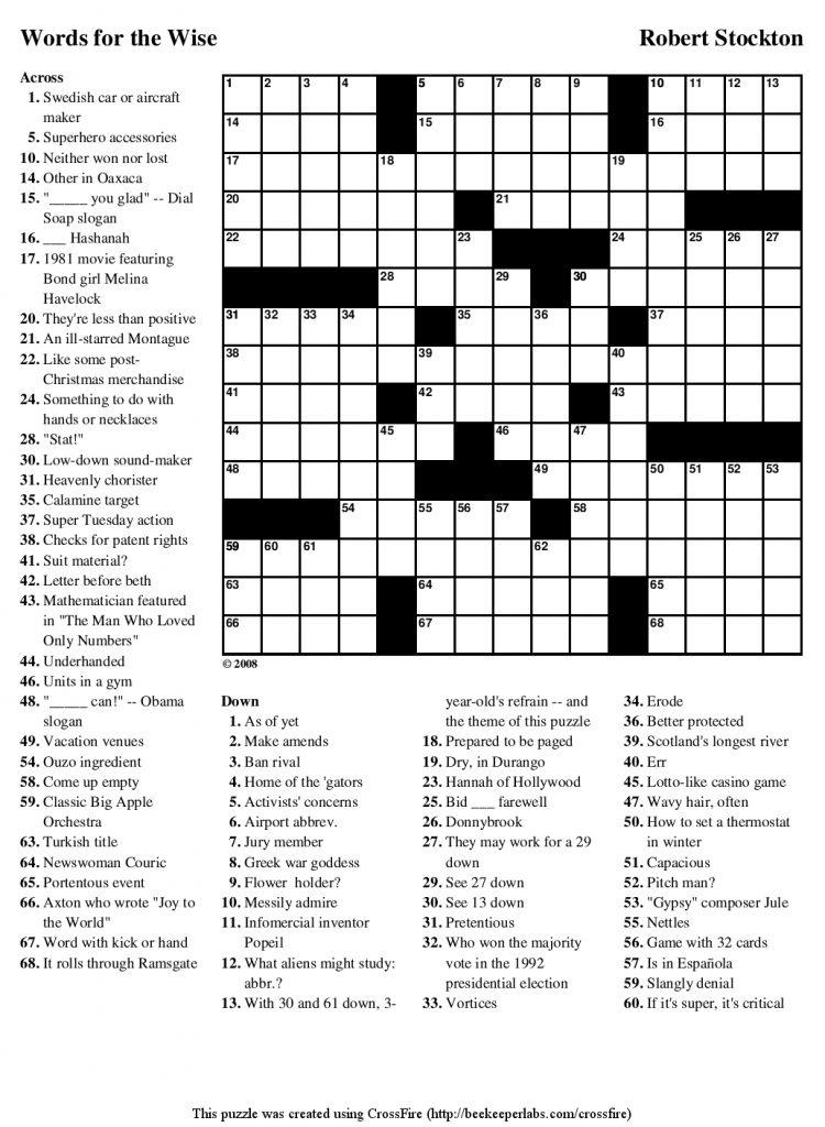 Guardian Printable Quick Crossword