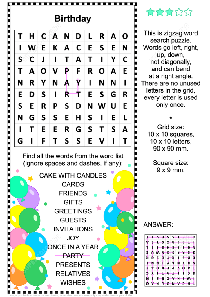 Birthday Zigzag Word Search Puzzle Free Printable Puzzle