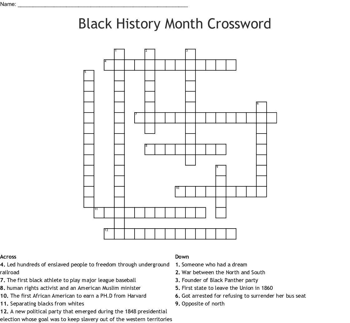 Printable History Crossword
