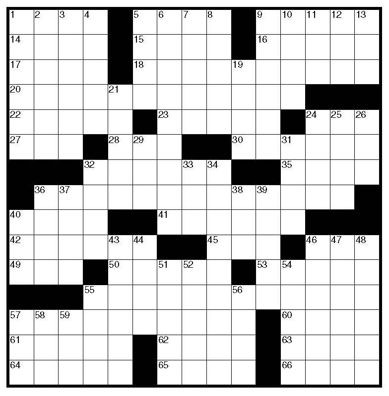 Printable Crossword Grid