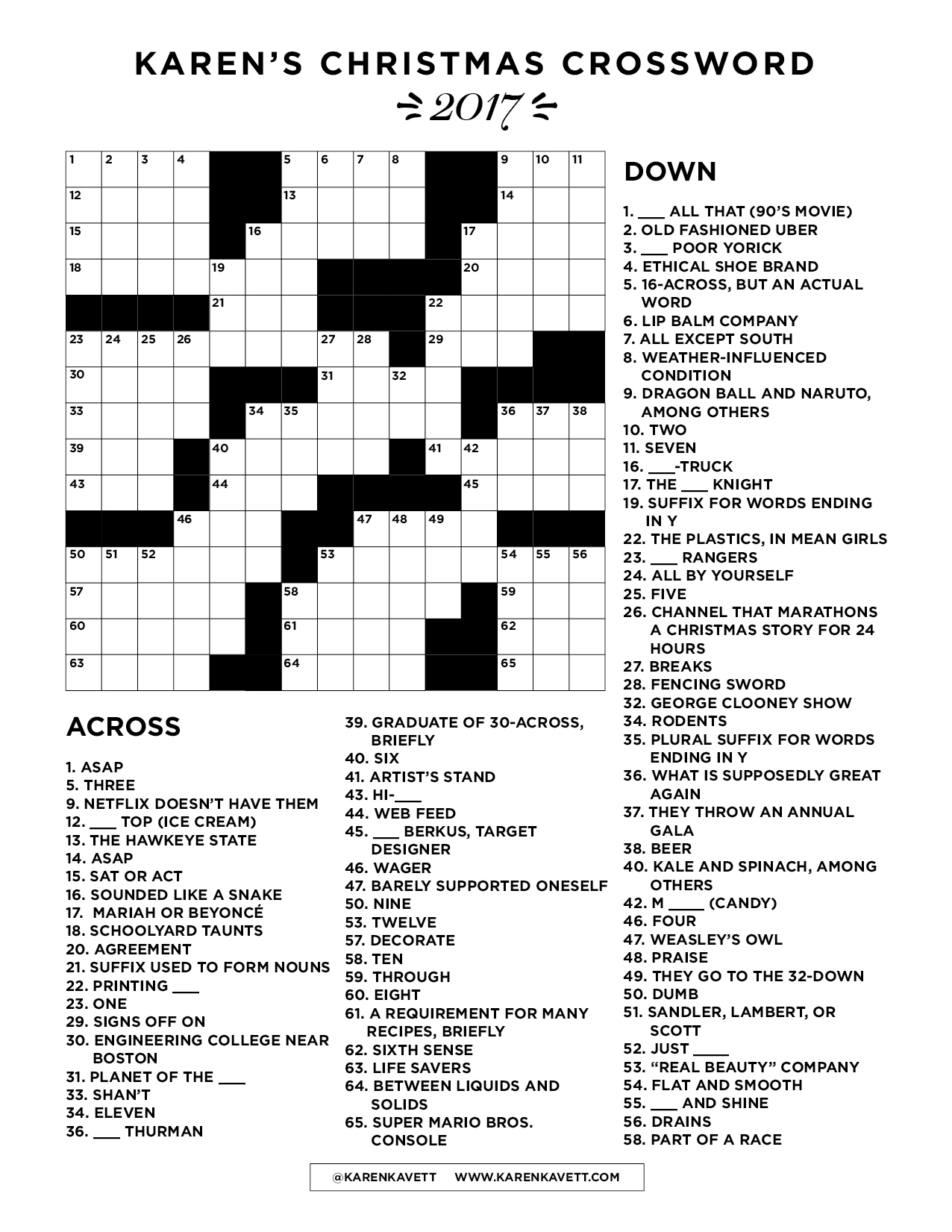Printable Holiday Crossword Puzzles