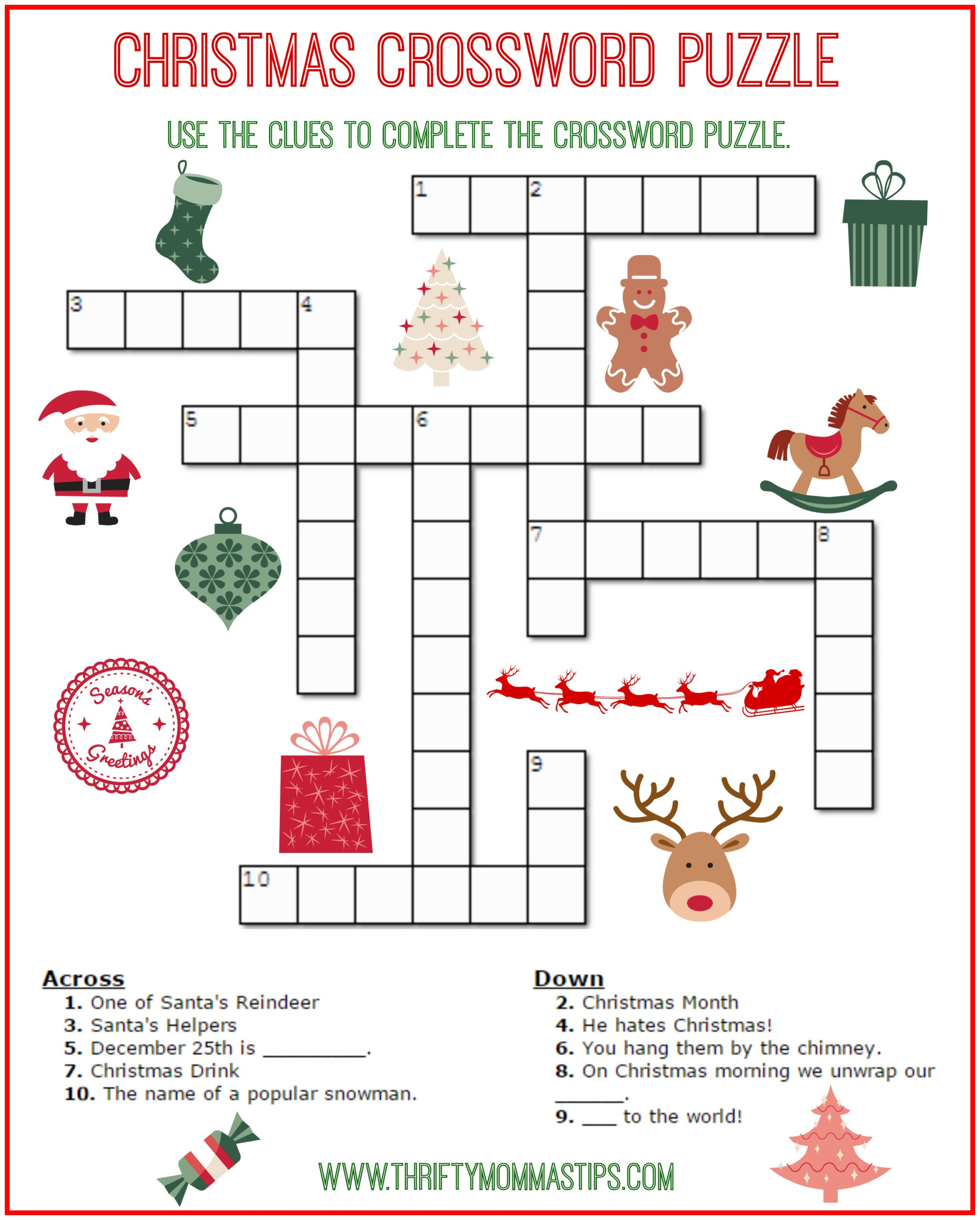 Christmas Crossword Puzzle Free Printable