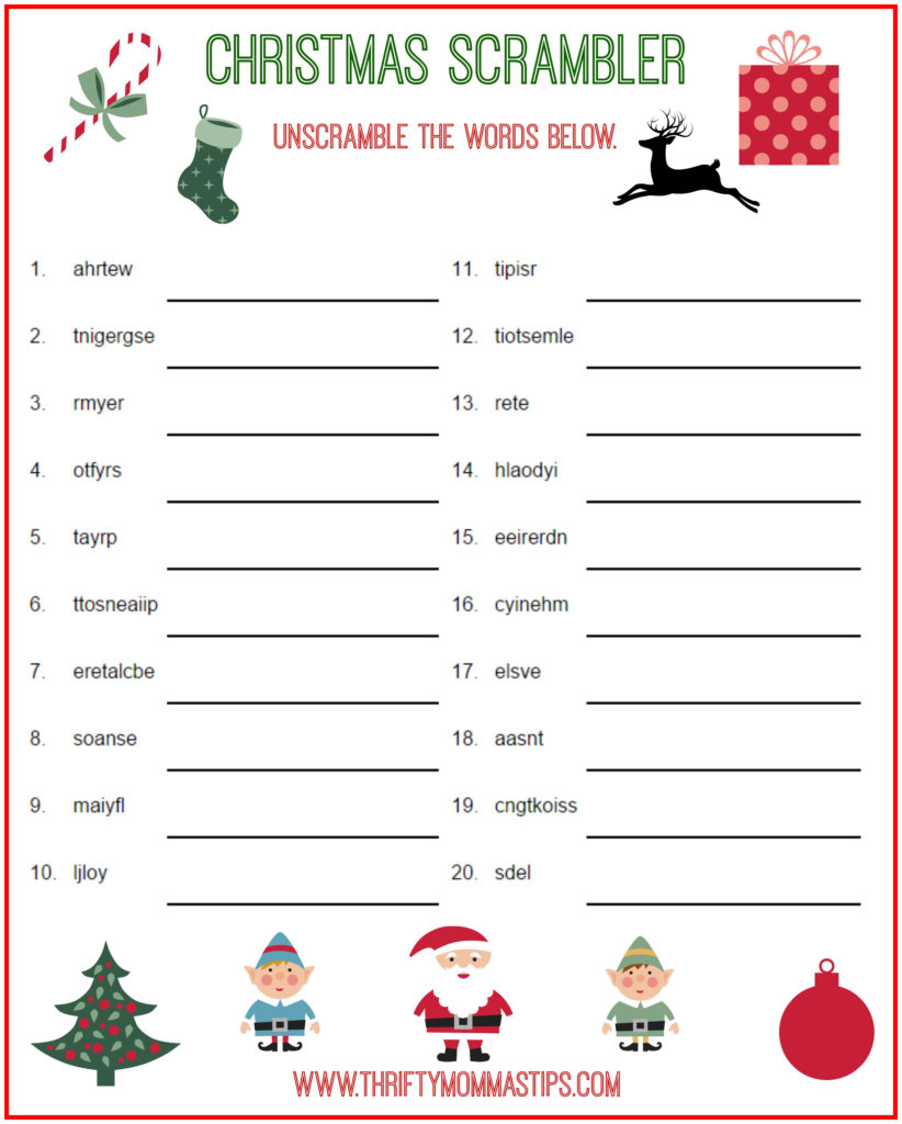 Christmas Scrambler Free Kids Puzzle Printables Thrifty
