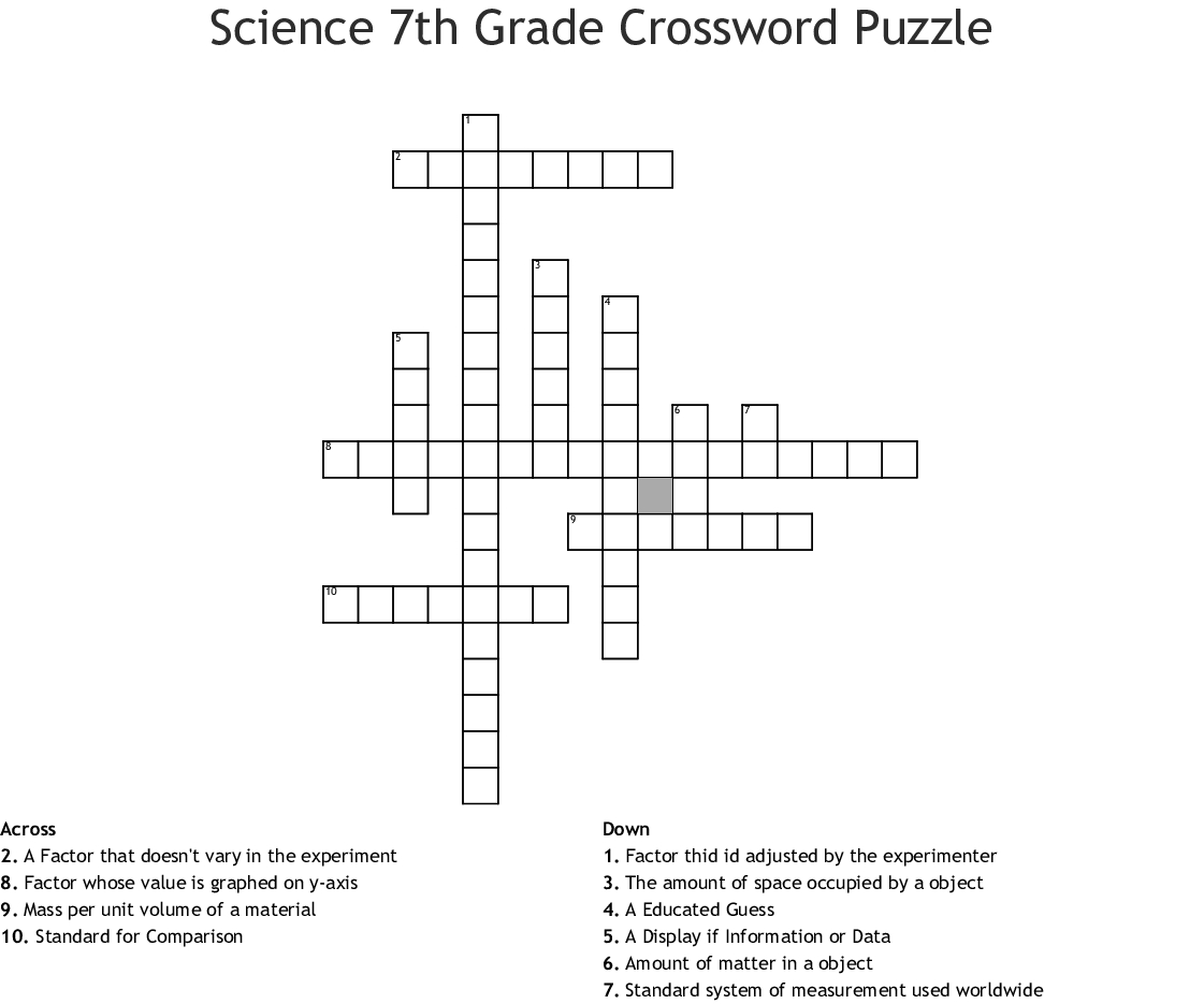 Crossword Printable 7th Grade