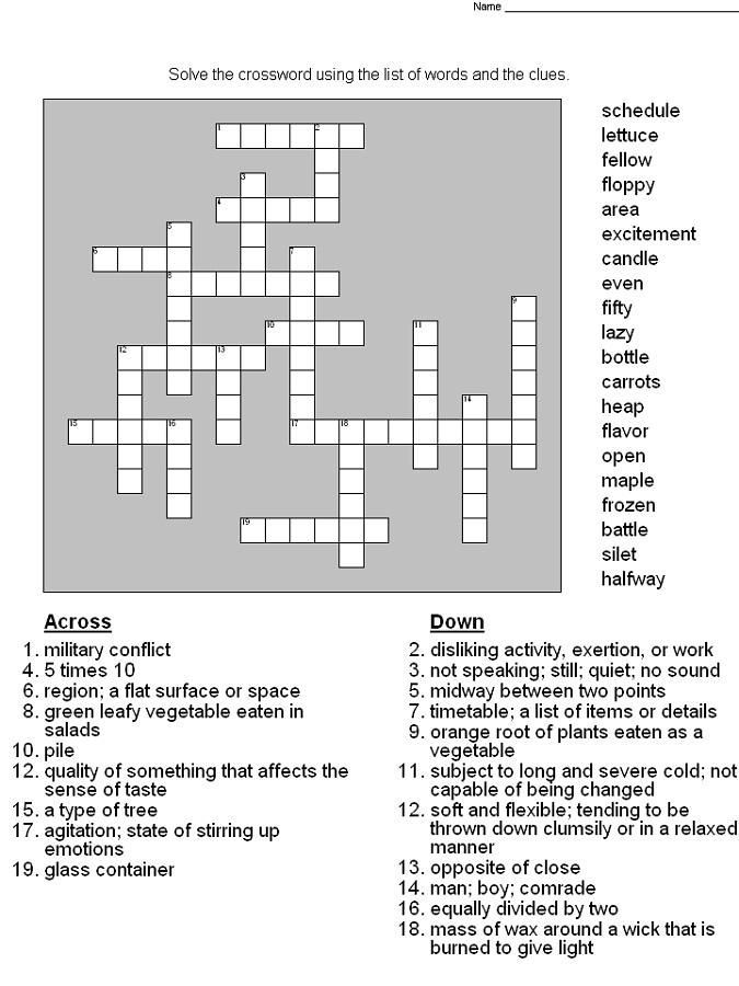 Crossword Printable 5th Grade