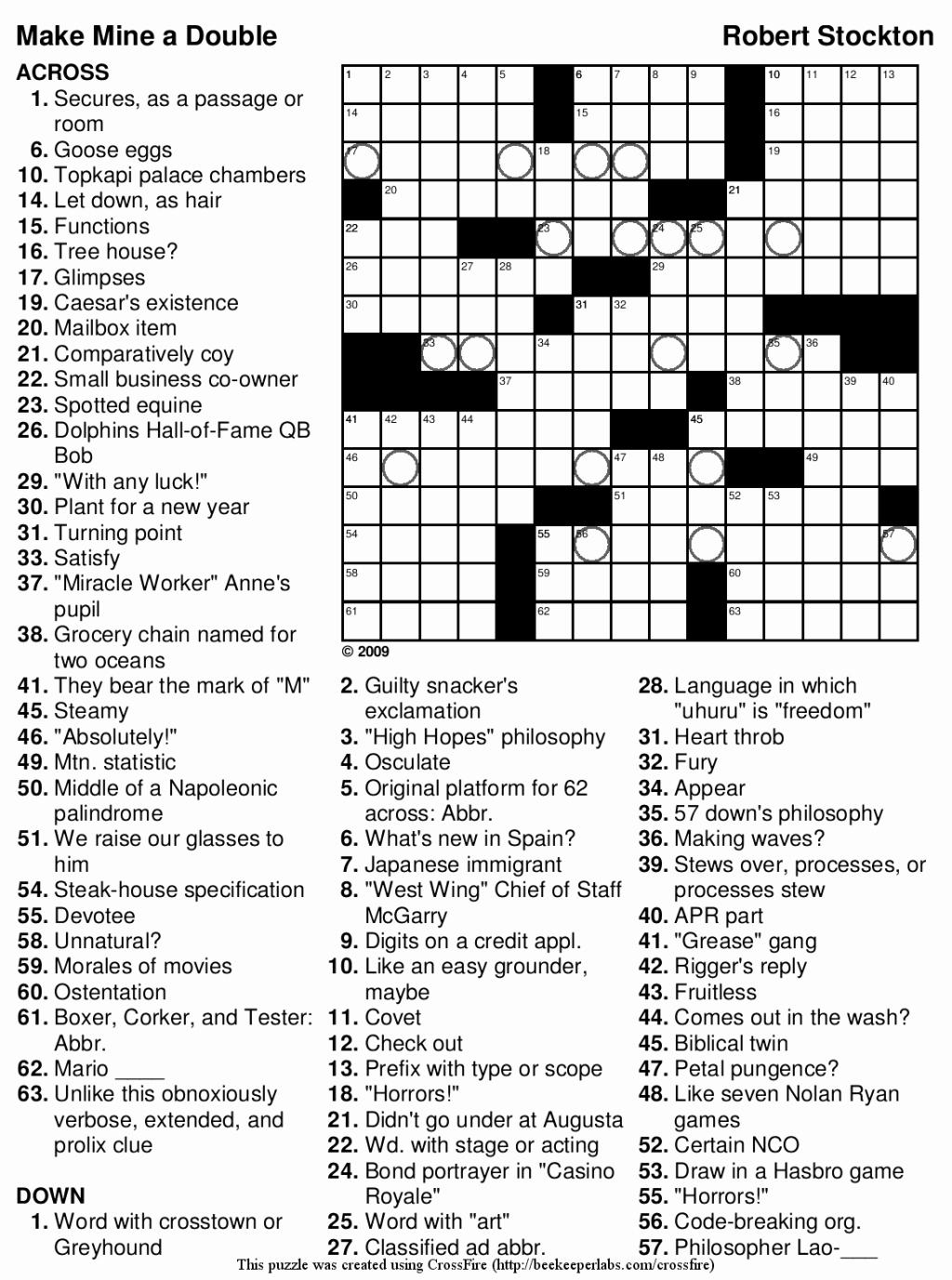 Free Printable Crossword Puzzles 7th Grade