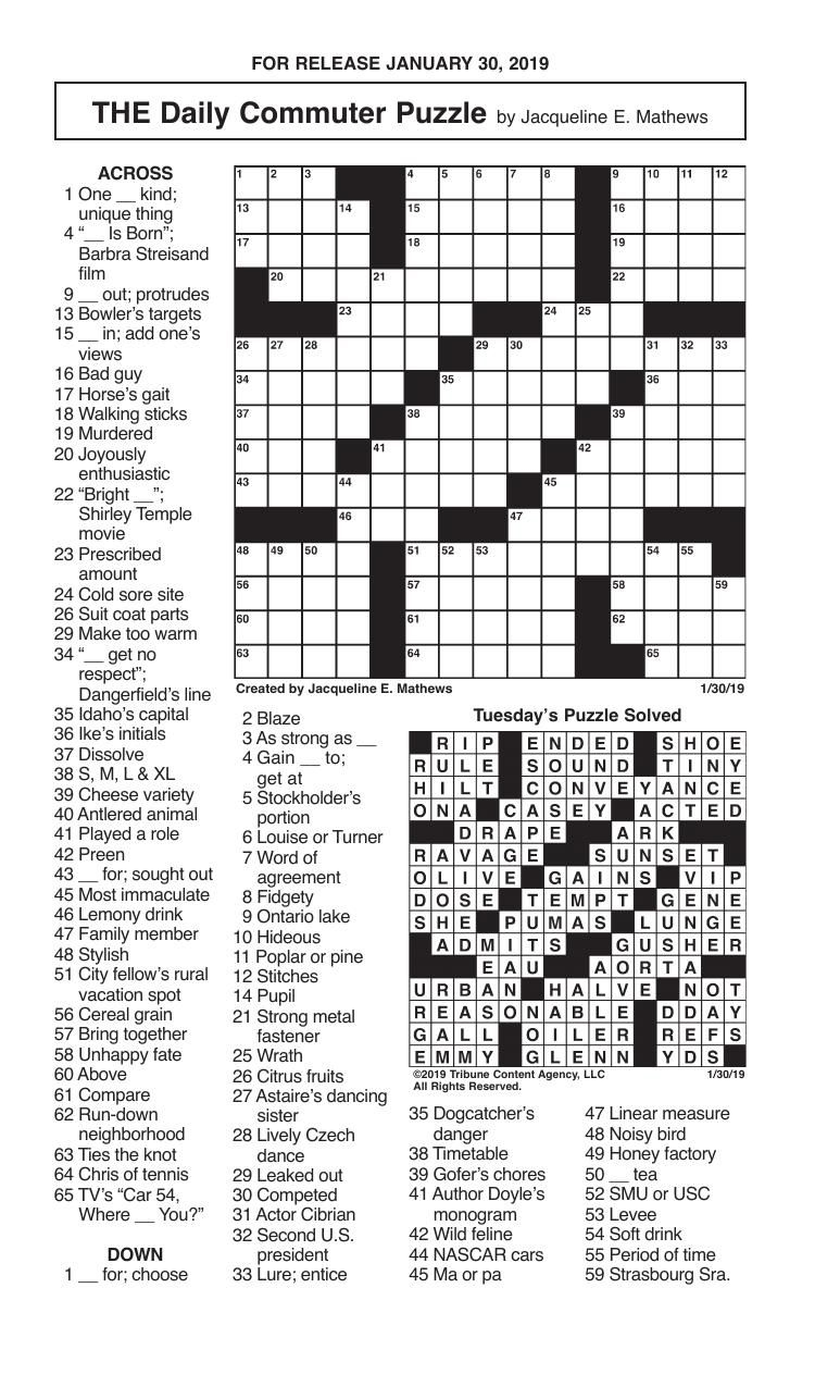 Free Daily Printable Crossword Puzzles April 2019