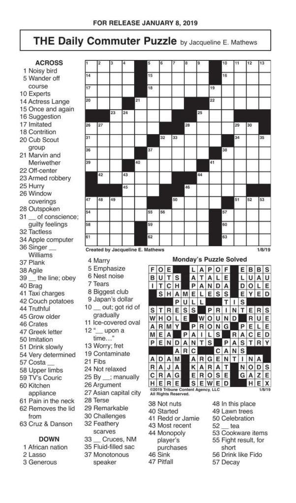 Crosswords January 8 2019 Crosswords Redandblack