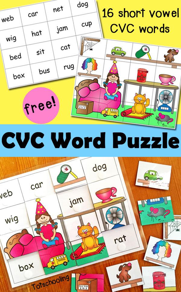 Cvc Word Puzzles Free Printable