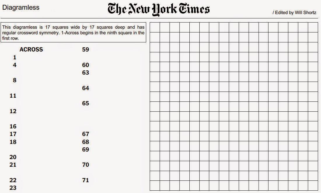 Printable Diagramless Crossword Puzzles