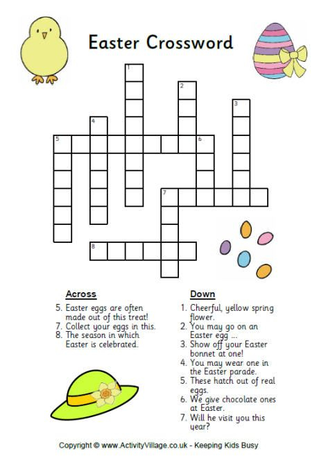 Easter Crossword Puzzle Free Printable