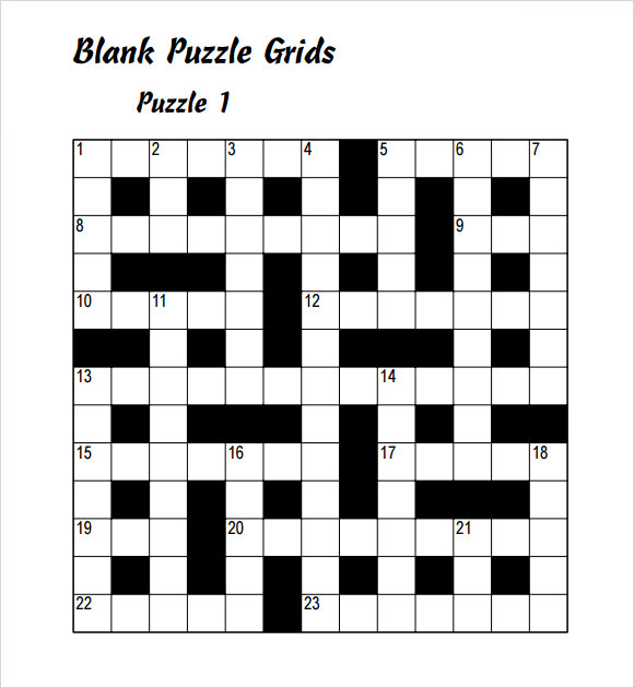 Free Blank Crossword Puzzle Template Printable