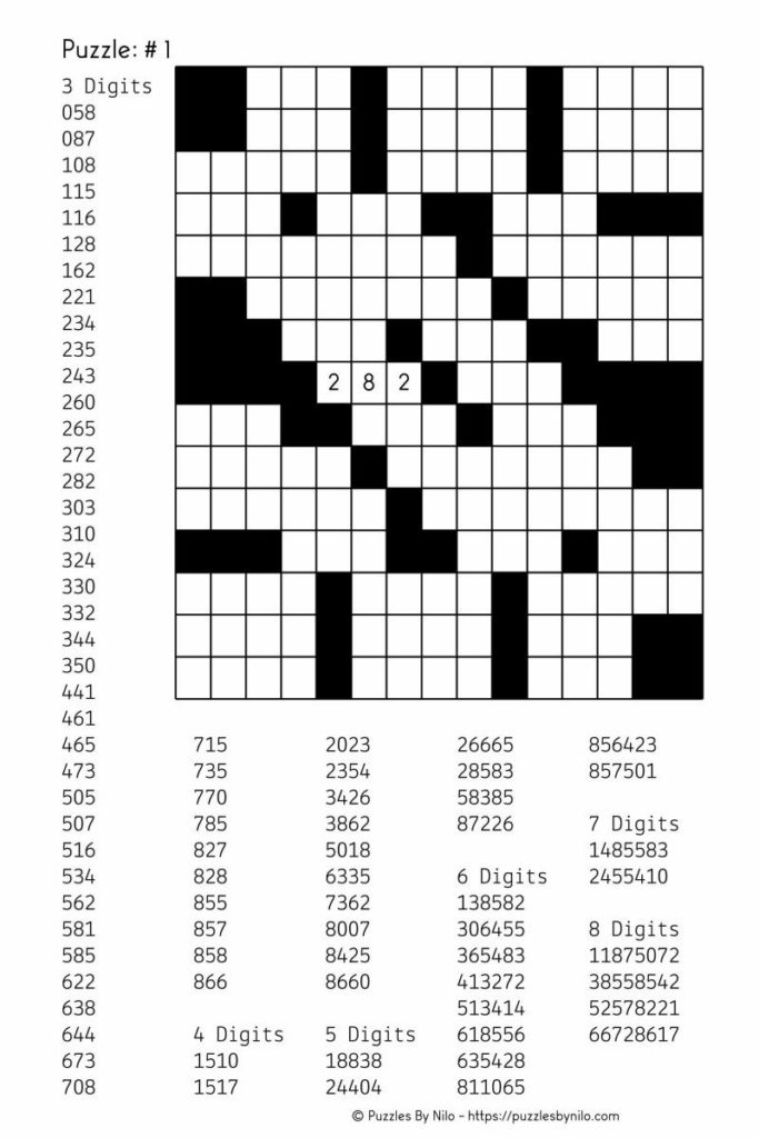 Free Downloadable Number Fill In Puzzle 001 Get