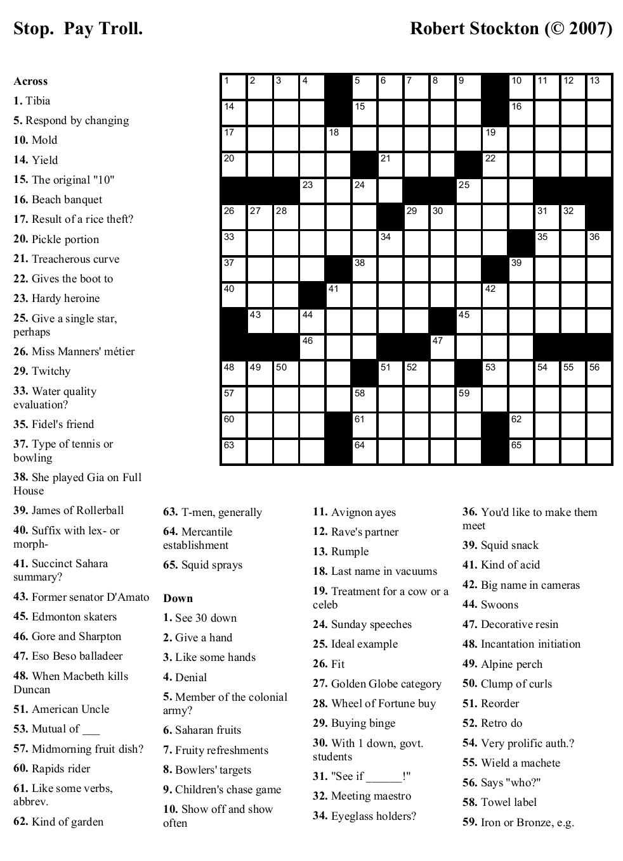 Free Printable Crossword Puzzles Uk