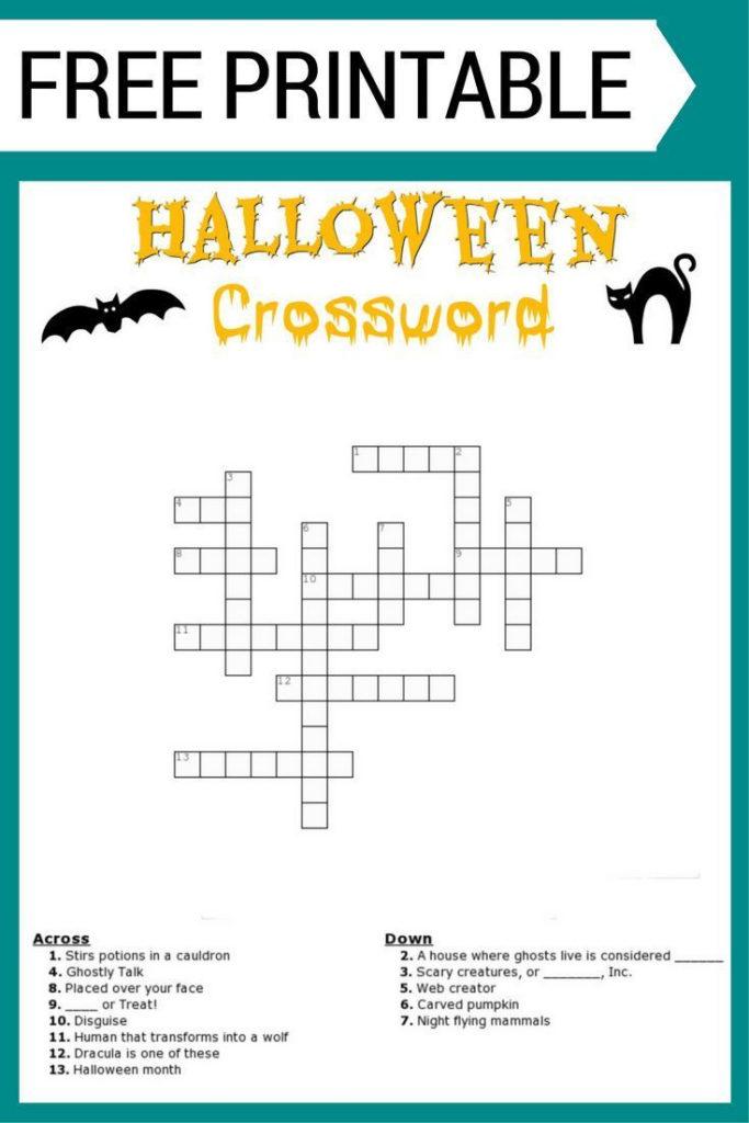 Free Halloween Crossword Puzzle Printable Worksheet