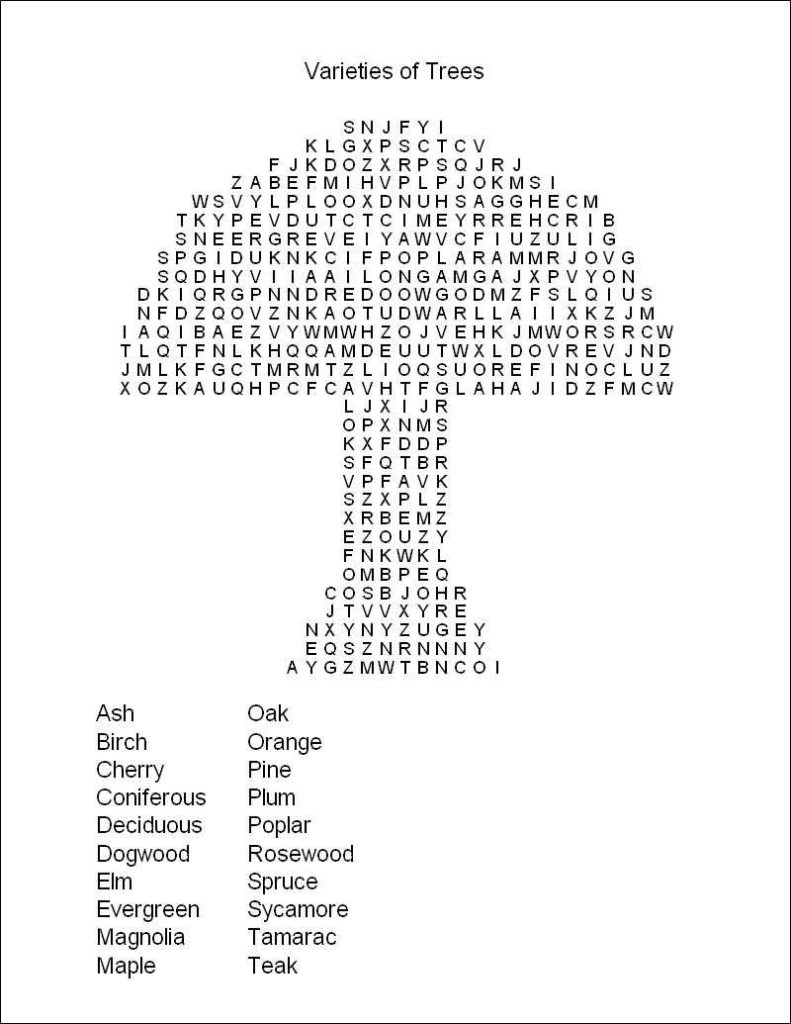 Free Large Print Word Search Puzzles For Seniors Printable