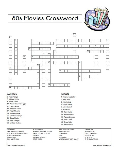 Printable 80's Crossword Puzzles