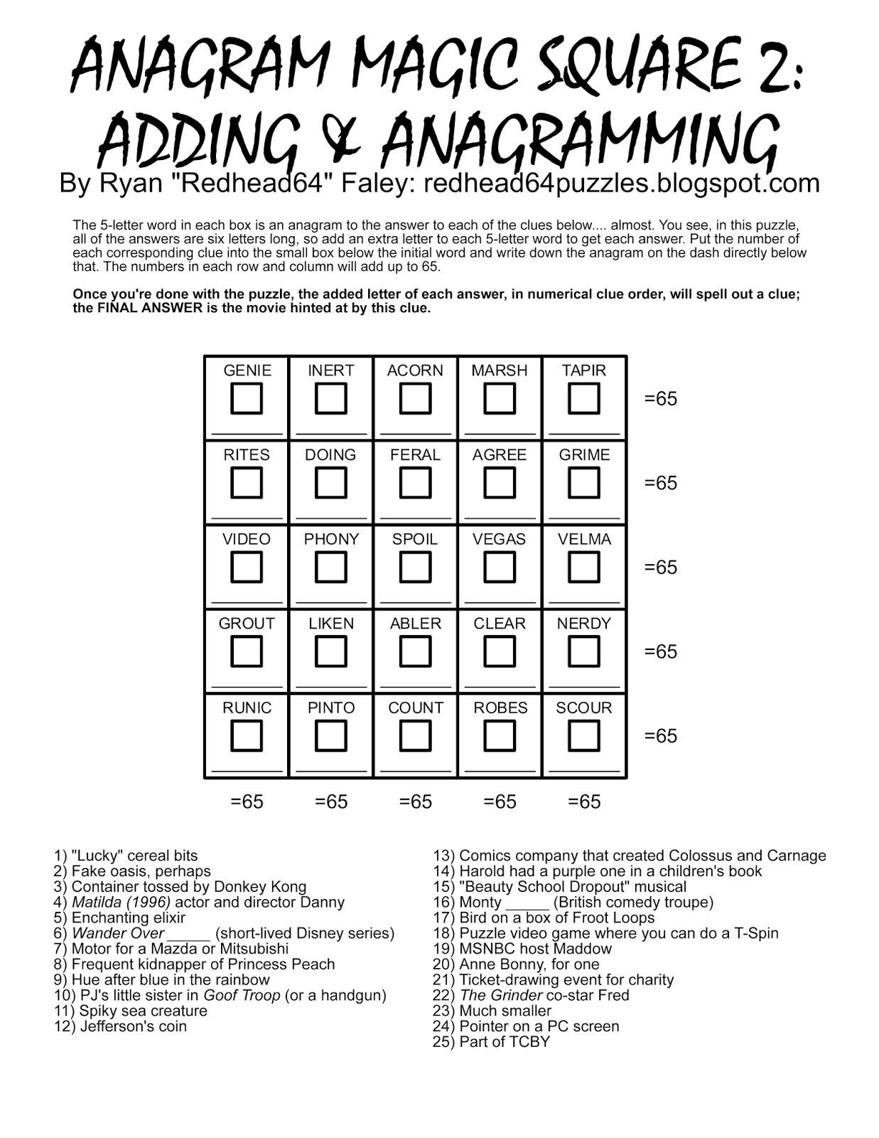 Free Printable Magic Square Puzzles