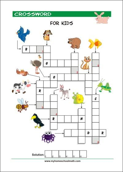Crossword Puzzles For Kindergarten Free Printable