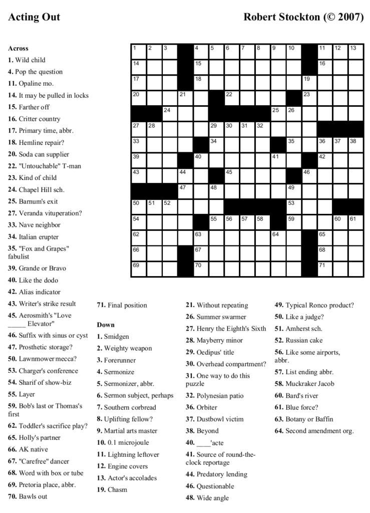 Free Printable Crossword Puzzles For Seniors Printable