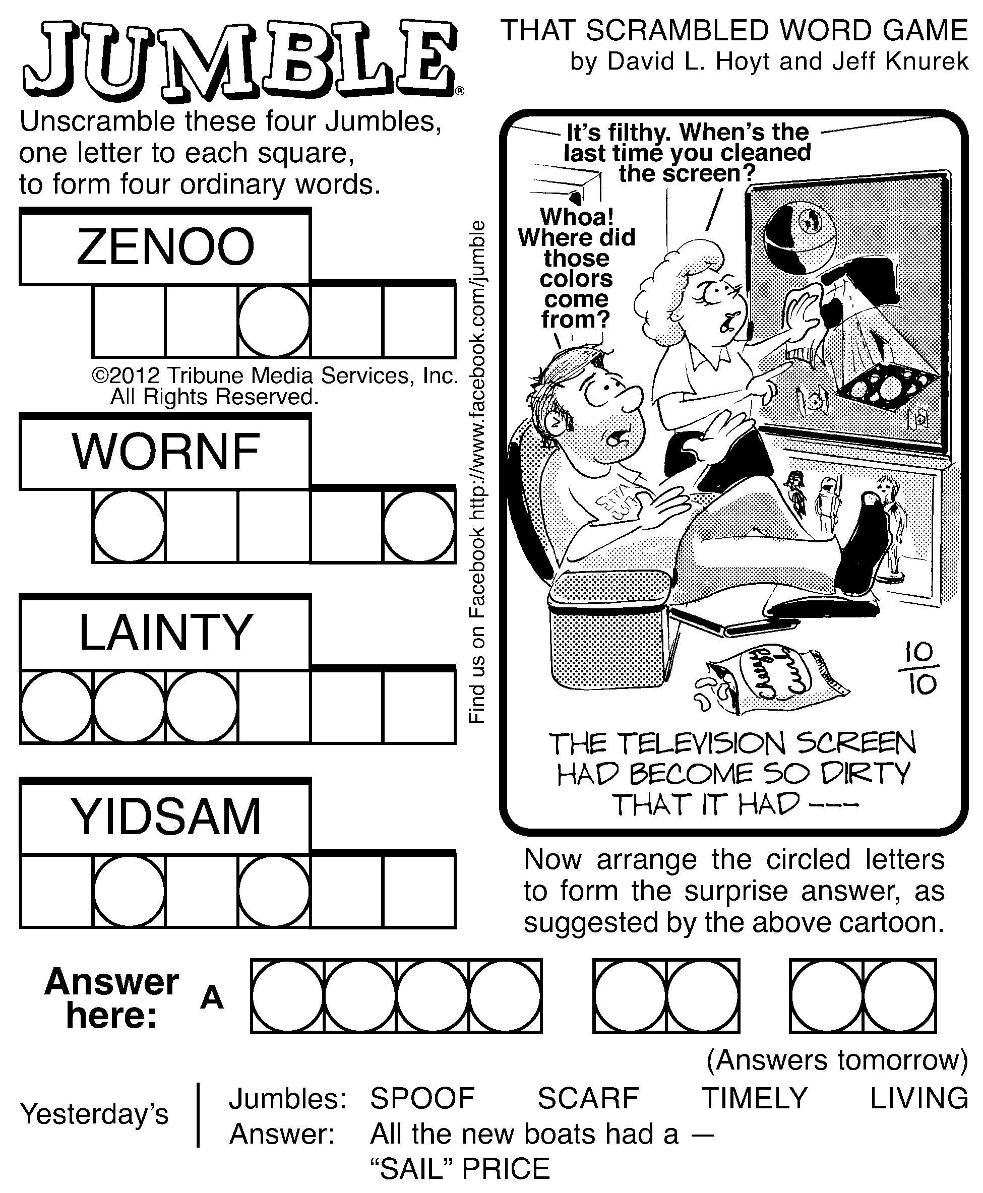 Printable Jumble Crossword
