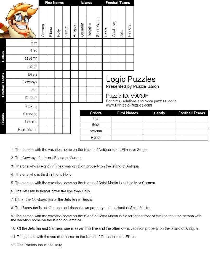 Free Printable Math Logic Puzzles