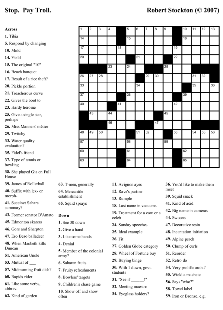 Free Printable Themed Crossword Puzzles Free Printable