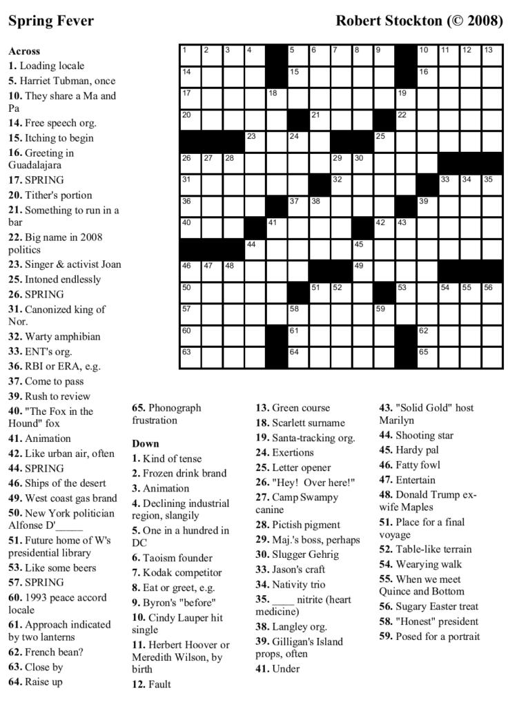 Free Printable Universal Crossword Puzzles Printable