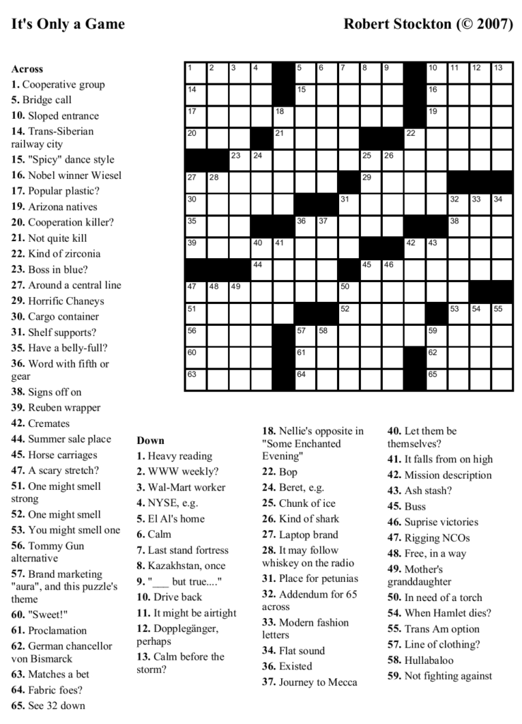 Free Printable Washington Post Crossword Puzzles