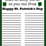 Free St Patrick S Day Word Puzzle Printable St Patrick