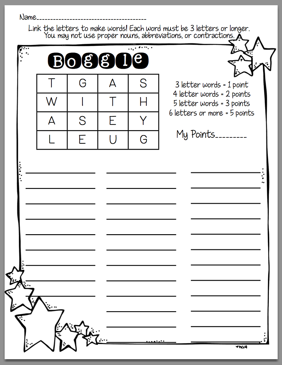 Free Printable Boggle Puzzles