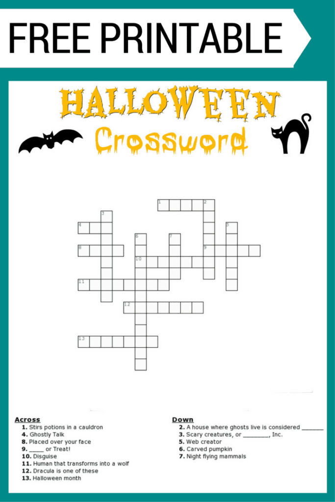 Halloween Crossword Puzzle FREE Printable With Or Without