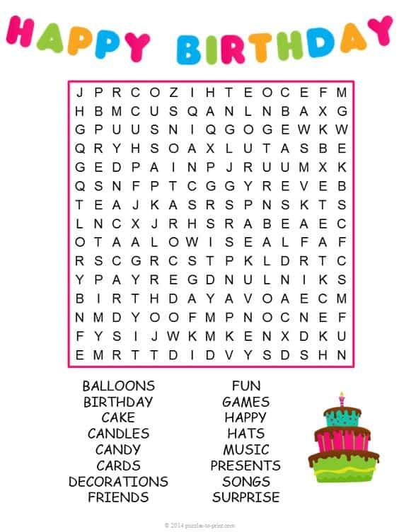 Free Printable Birthday Puzzles