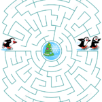 Help The Little Skating Penguin To Join His Friends Maze
