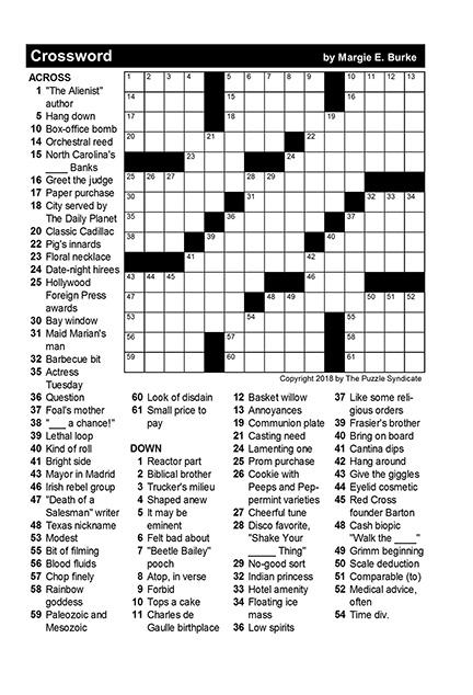 Printable January Crossword Puzzles