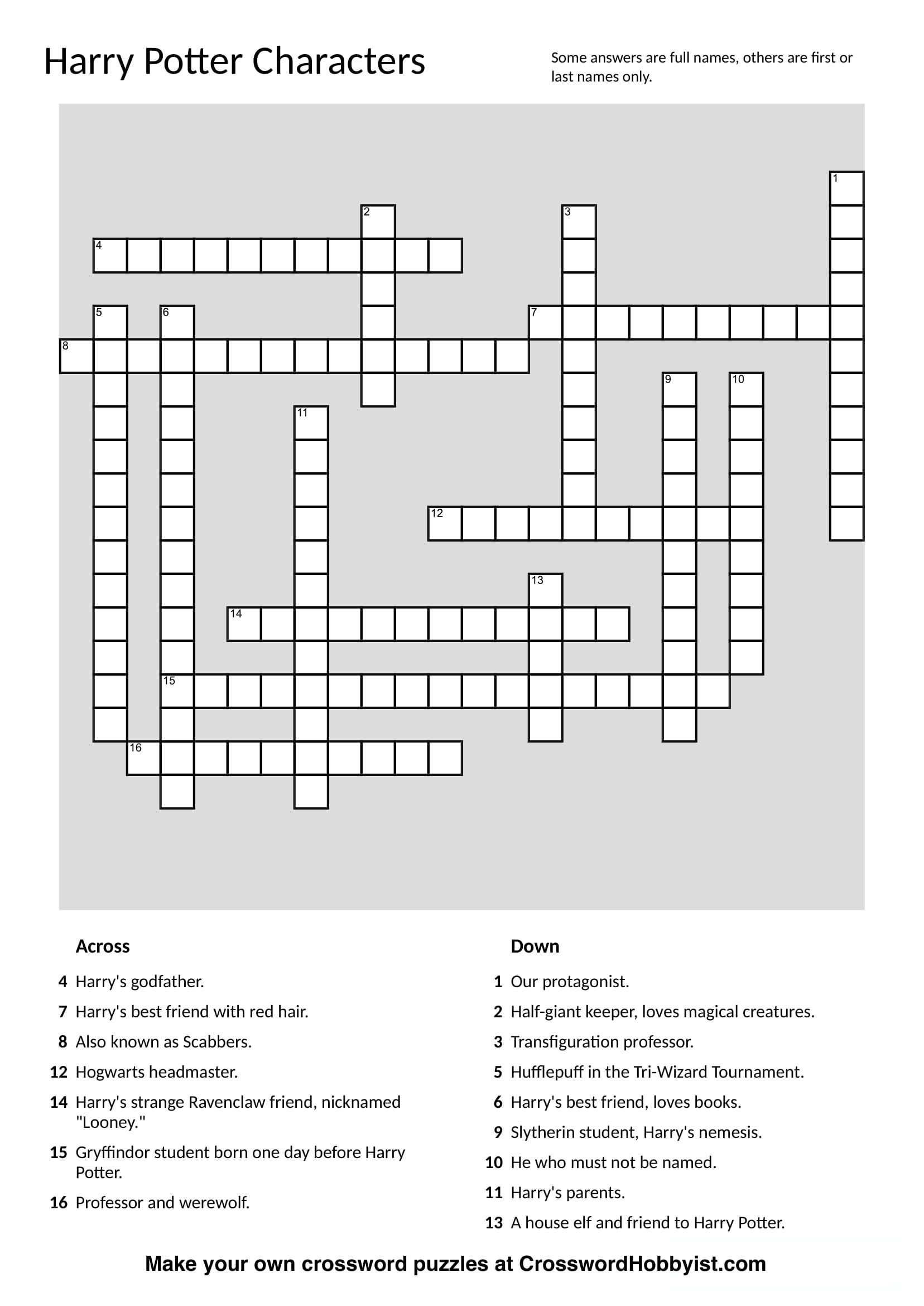 Printable Crossword Puzzles Make Your Own