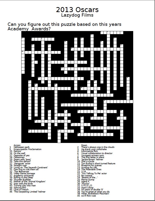 Printable Movie Crossword Puzzles