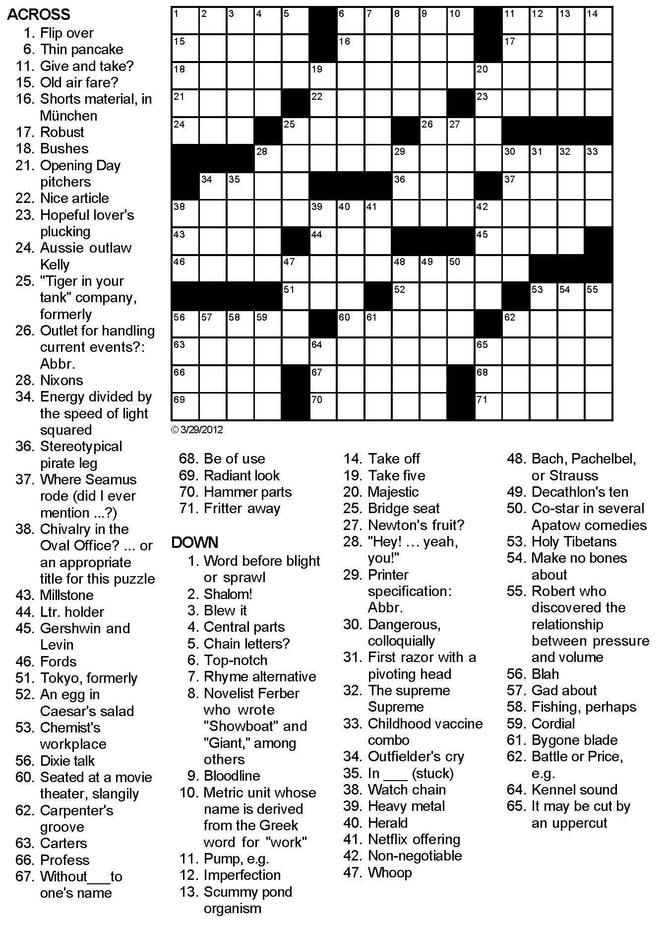Printable Love Crossword Puzzles