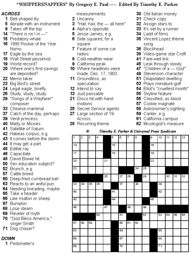 Printable Crossword Medium Difficulty