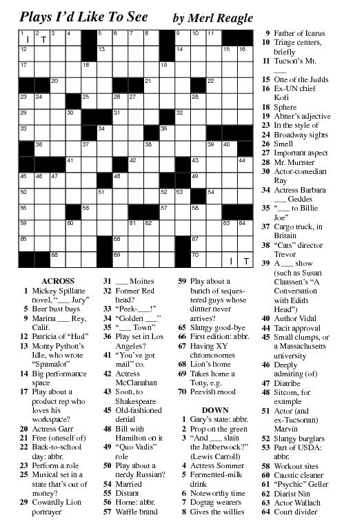 Free Printable Merl Reagle Crossword Puzzles