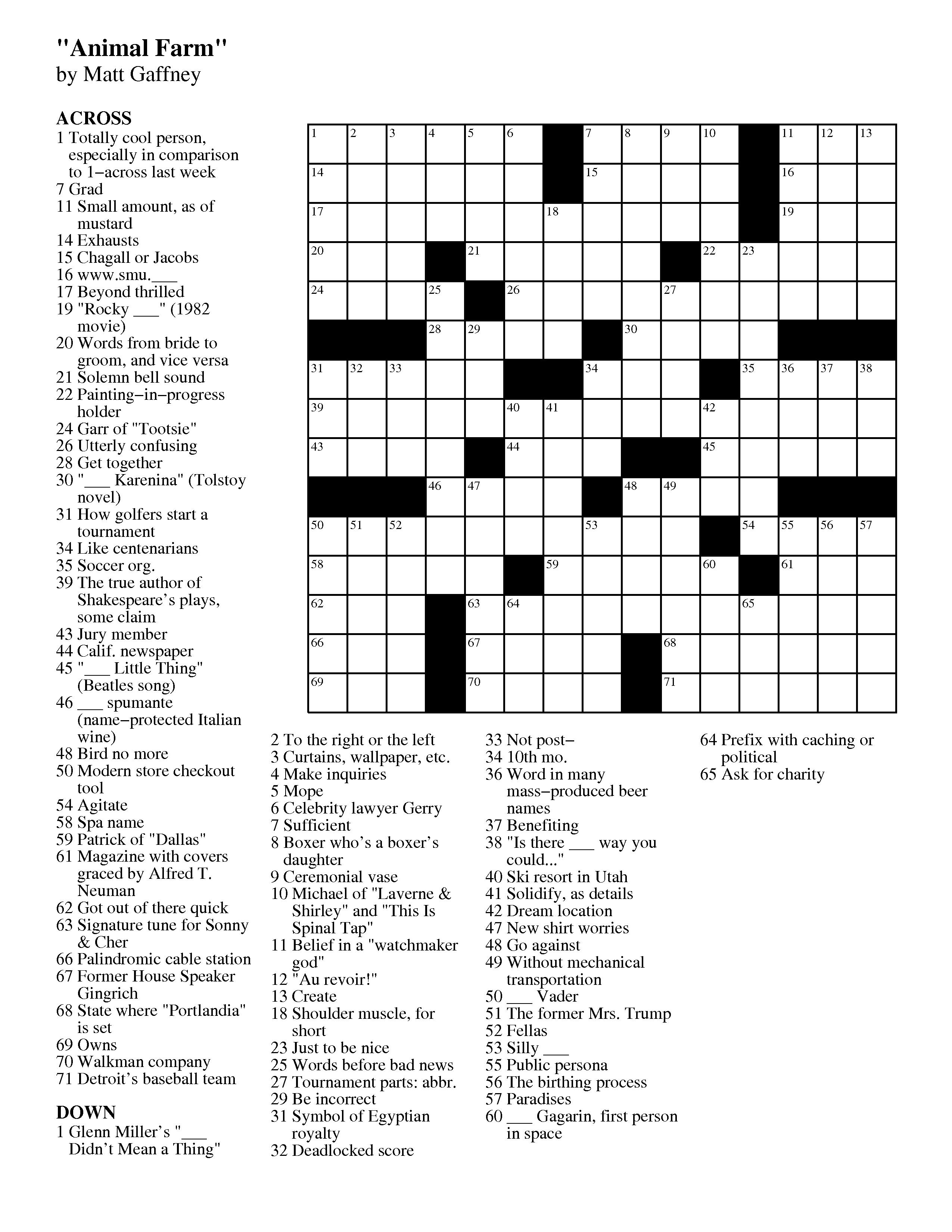 Merl Reagle's Sunday Crossword Free Printable
