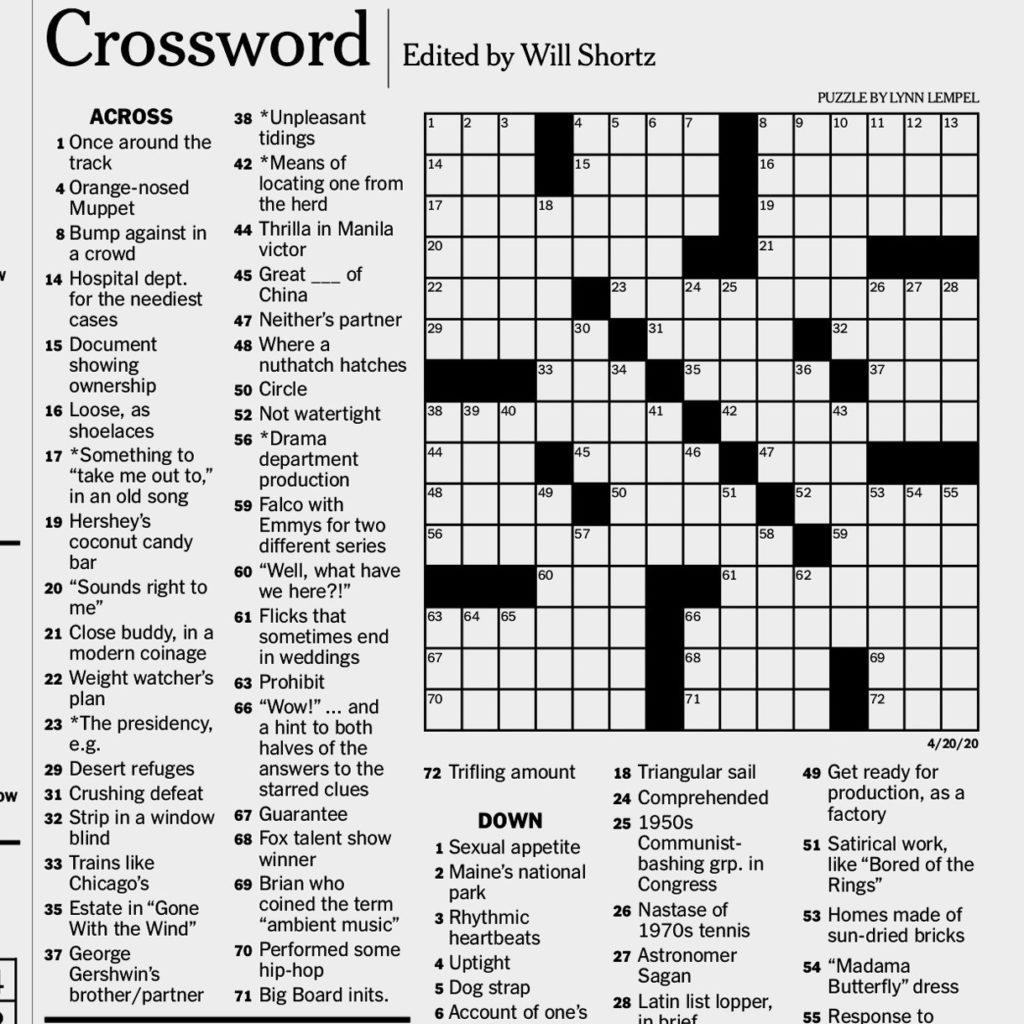 New York Times Crossword Printable Printable Template Free